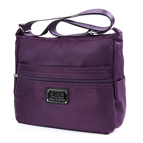 TENXITER Nylon Crossbody Handbag for Women with Pockets (Purple)