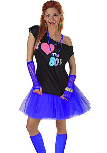 Women's I Love The 80's T-Shirt 80s Outfit Accessories(S/M,Navy) ()