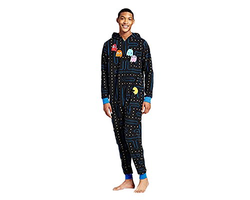 Pacman Gamer Adult Novelty Hooded Onesie Pajama with Detachable Pieces (Medium)