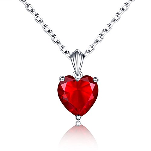 2.7Ct Sweet Ruby Heart Necklace 925 Sterling Silver Solitaire Pendant Necklace for Women 18
