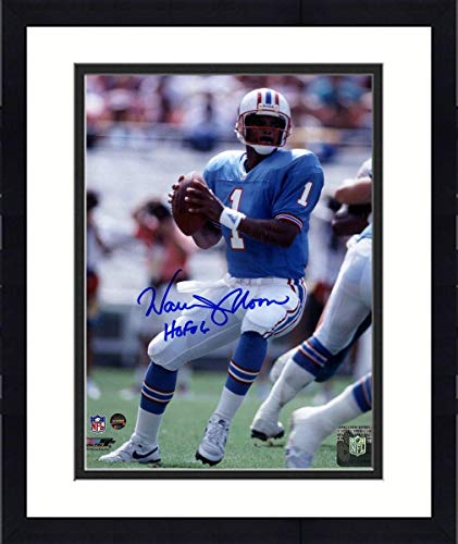 - Framed Warren Moon Signed Houston Oilers 8x10 Photo w/