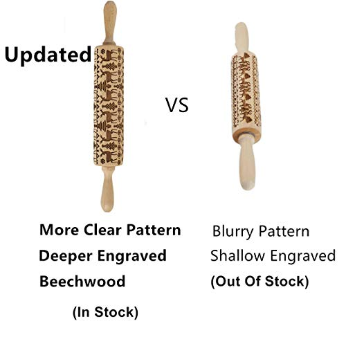 Embossed Wooden Rolling Pins with Elk Deer Pattern,Engraved 3D Holiday Rolling Pins for Baking to Decorate Cookies Waffles Pastry Dough Pies,15.3 Inches(Beechwood) ()