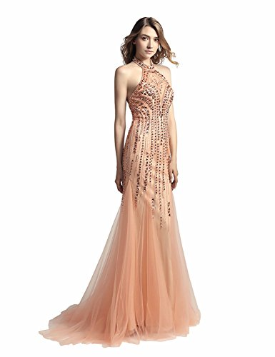 Dresses Long Women's Evening Beaded Gowns LX116 Formal Sarahbridal peach 437 Crystal Prom 1wXAI