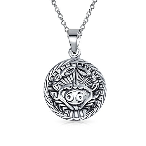 Bling Jewelry Large Cancer Zodiac Medallion Pendant Sterling Silver Necklace 18 - Pendant Zodiac Large