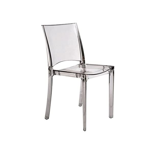 Grandsoleil Upon B-Side Chaise empilable, en Polycarbonate, Cristal Clair, 50 x 48 x 81.5 cm