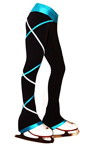 (Ice Fire Figure Skating Criss Cross Pants - Silver/Turquoise (Child Medium) )