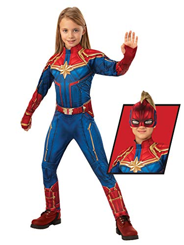 Rubie's Captain Marvel Children's Deluxe Hero Suit, Small 700597 Blue/Red]()