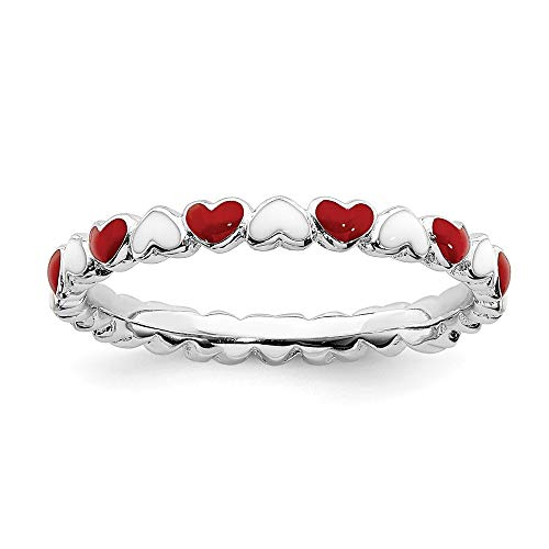 White Enameled Ring Band - 2.5mm Sterling Silver Red/White Enameled Hearts Anniversary Ring Band - Size 10