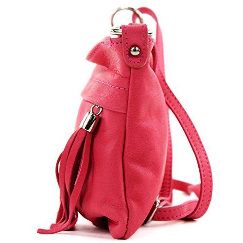 Made Italy - Bolso cruzados para mujer (22.5 x 16 cm) rosa oscuro