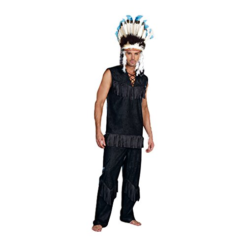 Dreamgirl Men's Chief Wansum Tail Costume, Black, Medium (Sexy Indian Costumes)