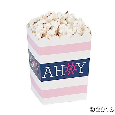 Mini Nautical Girl Popcorn Boxes - 24 ct (Case 24 Duty Pack)