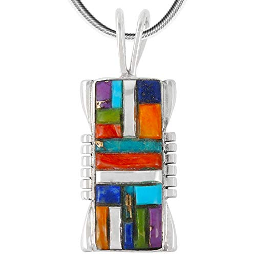 Turquoise & Gemstones Pendant Necklace in Sterling Silver 925 (Choose Style) (Rectangle Cobblestone) ()