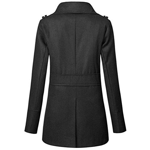 delgado de de botonadura Internet Escudo con doble Abrigo Abrigo abrigo mujer largo de caliente chaqueta Negro abrigo w17qxf7U