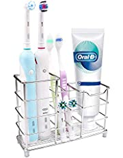 Smyidel Toothbrush Stand Multifunctional Toothbrush Holder Toothpaste Holder Stainless Steel for Bathroom Sturdy Hygienic and Kitchen, Rustproof Silver