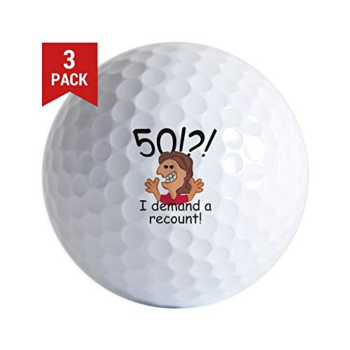 CafePress Recount 50Th Birthday Red Golf Ball Golf Balls (3-Pack), Unique Printed Golf Balls