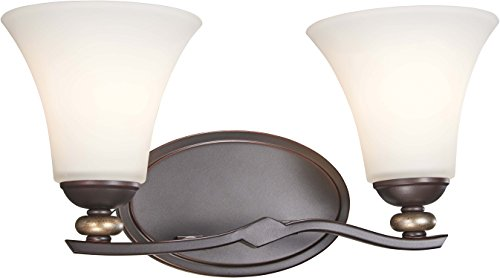 Minka Lavery Wall Light Fixtures 2282-589 Shadowglen Wall Bath Vanity Lighting, 2-Light 200 Watts, Lathan Bronze