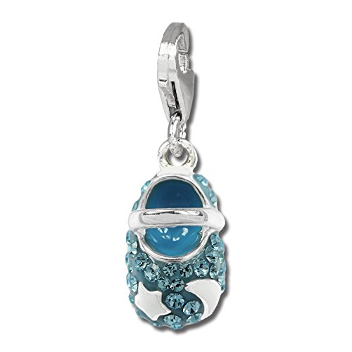 (SilberDream Glitter Charm baby shoe with light blue Czech crystals, white enameled sun and moon 925 Sterling Silver Charms Pendant for Charms Bracelet, Necklace or Earring GSC554H)