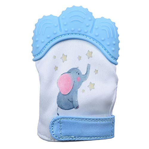 - Lywey Elephant Baby Silicone Mitts Teething Mitten Molars Glove Wrapper Blue