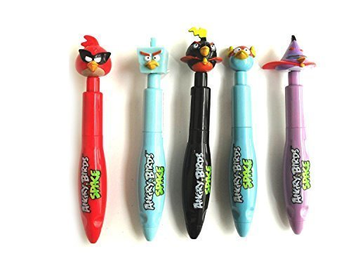 Angry Birds Space Clicker Pens Set of 5- Super Red Bird, Ice Bird, Lightning Bird, Bomb, Lazer Bird by Angry (Angry Birds Lazer Bird)