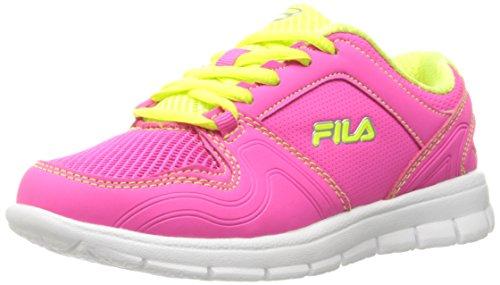 (Fila Girls' Speed Runner Skate Shoe, Pink Glo/Safety Yellow/Metallic Silver, 3 M US Little Kid)