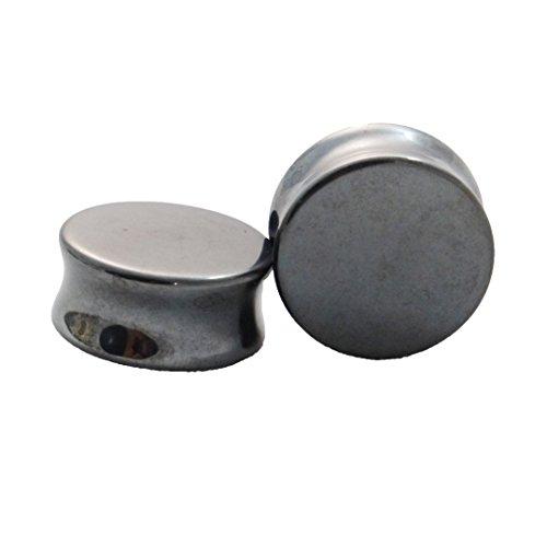 Hematite Double Flared Stone Plugs
