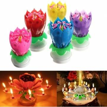 Lovely Musical Lotus Flower Rotating Happy Birthday Party Gift Candle Lights Amazoncouk Kitchen Home