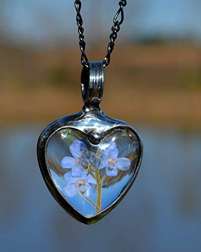 Terrarium Jewelry, Handmade Real Forget Me Not, Pressed Flower Necklace Glass Heart Pendant Heart Necklaces for Women 2785f ()