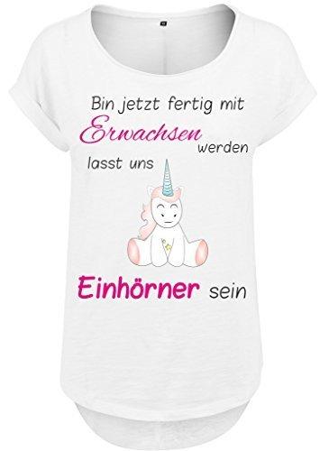 Mujeres Mujer Larga Slub camiseta Camisa de verano Camisa mujer Unicornio Unicornio cutie Bin ahora lista con Adultos werden blanco
