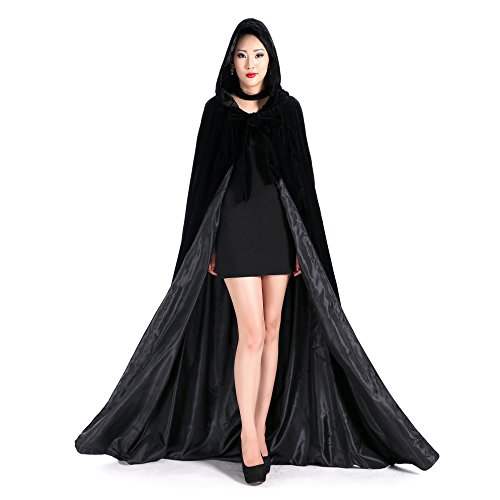 Newdeve Halloween Hooded Cloak Medieval Wedding Cape Black Robe Cosplay (S)