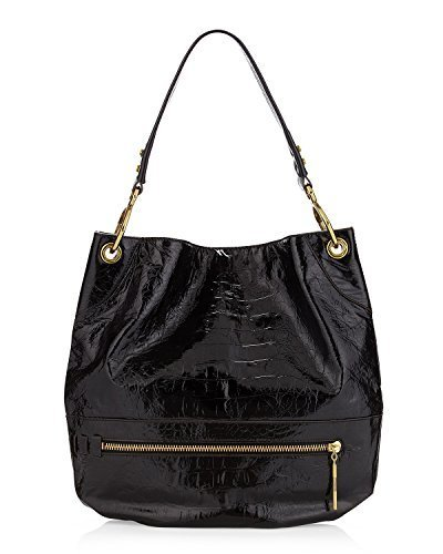 Leather Hobo Large Patent (orYANY Lucy Croco Embossed Patent Leather Black Large Hobo Tote)