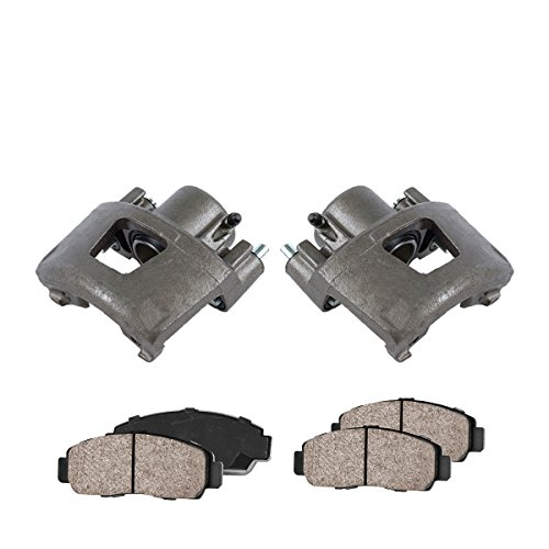 COEK01206 [2] FRONT Premium Loaded OE Caliper Assembly Set + Quiet Low Dust Ceramic Brake Pads