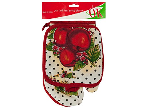 Quilted Fruit Print Oven Mitt & Pot Holder Set - Pack of 72 by bulk buys