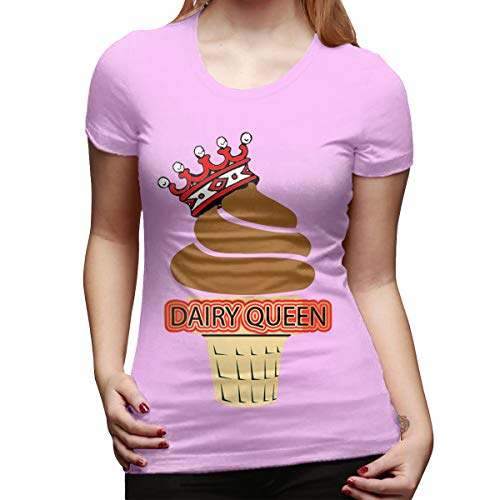 - CSDQC Woman Personalized Slim Tee Dairy Queen Logo DQ Logo Short Sleeve Classic T Shirt Pink M