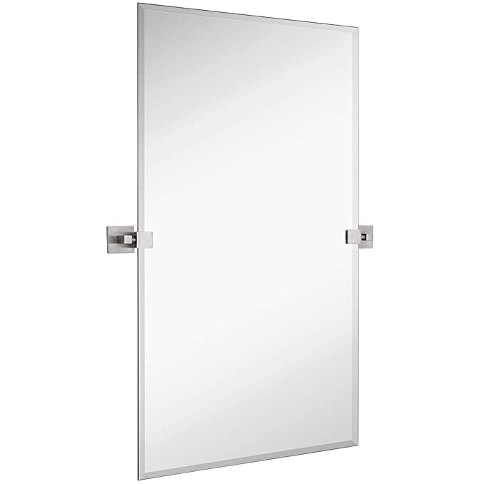 Hamilton Hills Large Squared Modern Pivot Rectangle Mirror with Brushed Chrome Wall Anchors | Silver Backed Adjustable Moving & Tilting Wall Mirror | 24