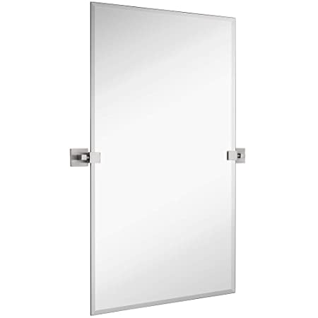 Hamilton Hills Large Squared Modern Pivot Rectangle Mirror with Brushed Chrome Wall Anchors Silver Backed Adjustable Moving Tilting Wall Mirror 24 x 36 Inches