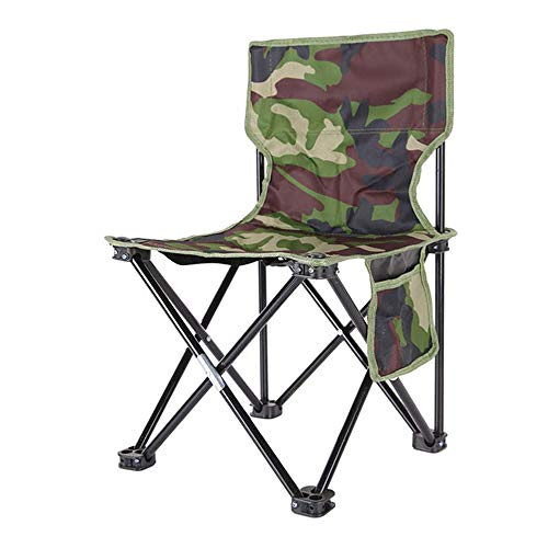 LLEH Camouflage Folding Chair, Camping Chair Backrest Fishing Chair Portable Foldable Chair for Hiking/Fishing/Camping,Large (Ki Folding Chair)