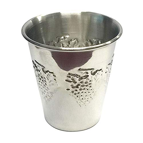 Mini Kiddush Cup - Stainless Steel - Non Tarnish - For Shabbat and Passover - 3.32 oz (100ml) - Judaica Shabbos and Holiday Gift - By Ner Mitzvah