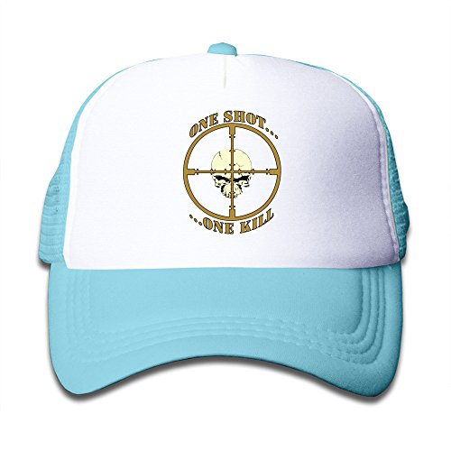 Classic Kids Hat One Shot,One Kill Skull Two Tone Adjustable Mesh Trucker Caps SkyBlue
