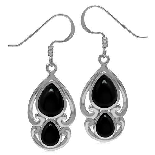 (Genuine Pear Shape Black Onyx 925 Sterling Silver Victorian Swirl Style Dangle Hook Earrings)