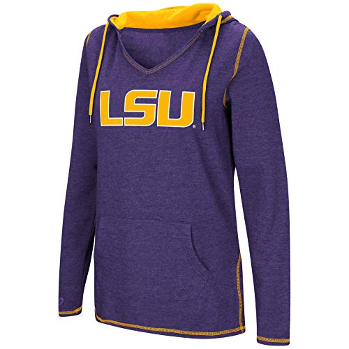 Colosseum Women's NCAA-Scream It!- Dual Blend-Fleece V-Neck Hoodie Pullover Sweatshirt-LSU Tigers-Purple-Medium