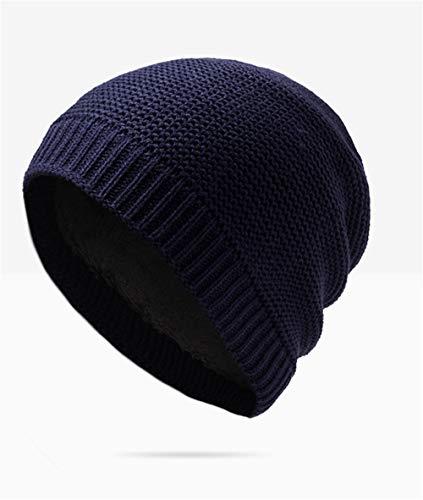 Terciopelo de Sombrero Lana marrón Capucha Gorro de Azul cálido con Sombrero más de oscuro Punto de los Hombres Sombrero Guichao Invierno f17fv