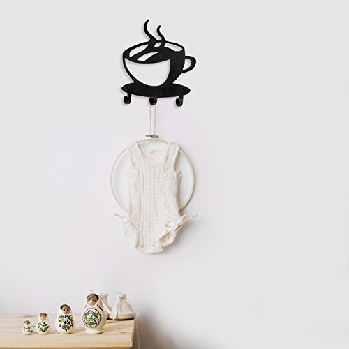 Modern Coffee Time Decor Organizer with 3 Hooks, Key Holder Rack Wall Mounted