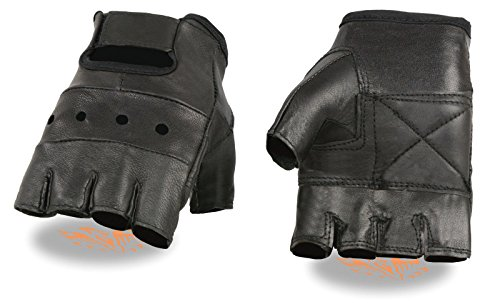 Shaf Motorcycle Men's Fingerless Perforated Gel Palm Leather Gloves with Paded Palm (XL Regular)