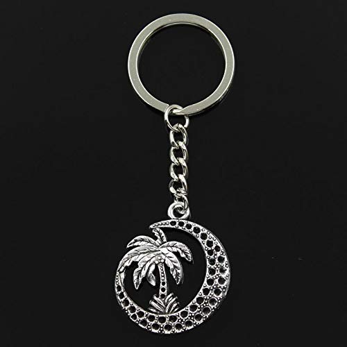 Mct12-30mm Key Ring Metal Key Chain Keychain Jewelry Antique Silver Plated palm tree moon coconut 37x30mm Pendant