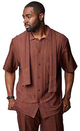 SILVERSILK Men's Solid Knit Front 3-Piece Set (Shirt, Pant & Scarf) (XL/38, Brown)