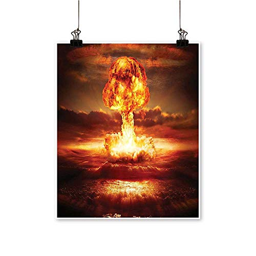 Single paintingBomb in The Ocean Fusion Radioactive Weapon Apocalypse Illustration Red Yellow Office Decorations,12