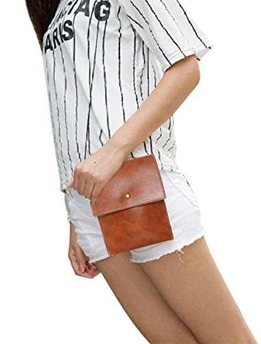 uxcell Women Small Crossbody Cell Bag Phone Magnetic Button Camel rAwqFx4r