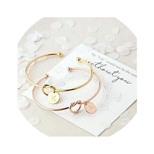 Genius-route-store Hot Rose Gold/Silver Alloy Letter Bracelet Snake Chain Charm Bracelet Female Personality Jewelry