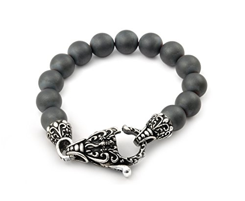 Twisted Blade Simulated Hematite Intricate Matte Bead Bracelet 925 Sterling Silver 9'' by Buy For Less