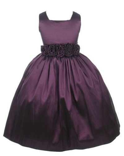 Sweet Kids Big Girls' Slvless Rolled Flw Waistband Dress 10 Plum SK 3047 (Plum Kids Dress)